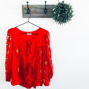Umgee Red Floral Embroidered Tie Peasant Top L